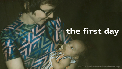 Andrea Bomberger holds her first adopted child, Ryan, for the first time.