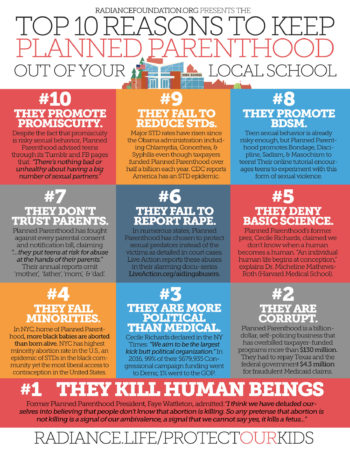 """Top 10 Reasons to Keep Planned Parenthood Out of Your Local School"" by The Radiance Foundation"