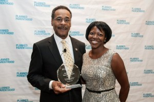 Image from Planned Parenthood of Congressman Emanuel Cleaver accepting award.