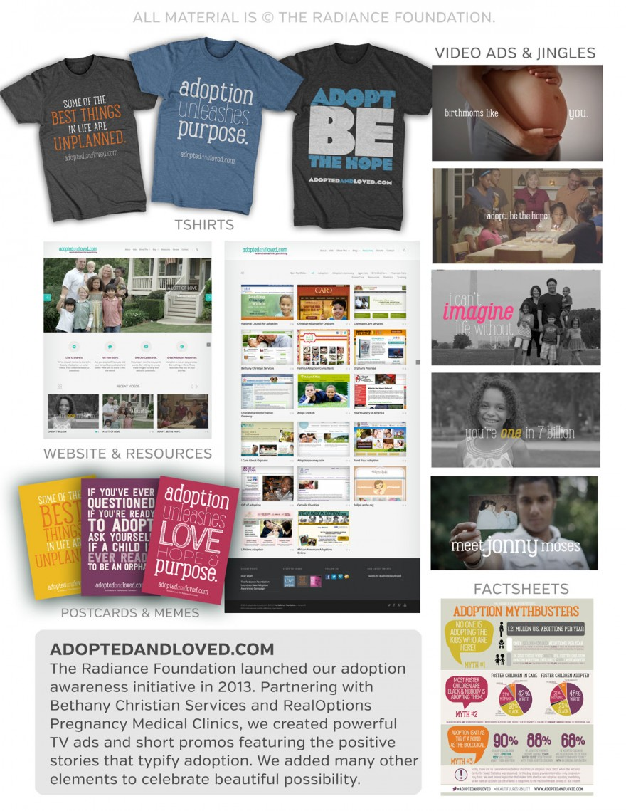 AdoptedAndLoved.com campaign elements.