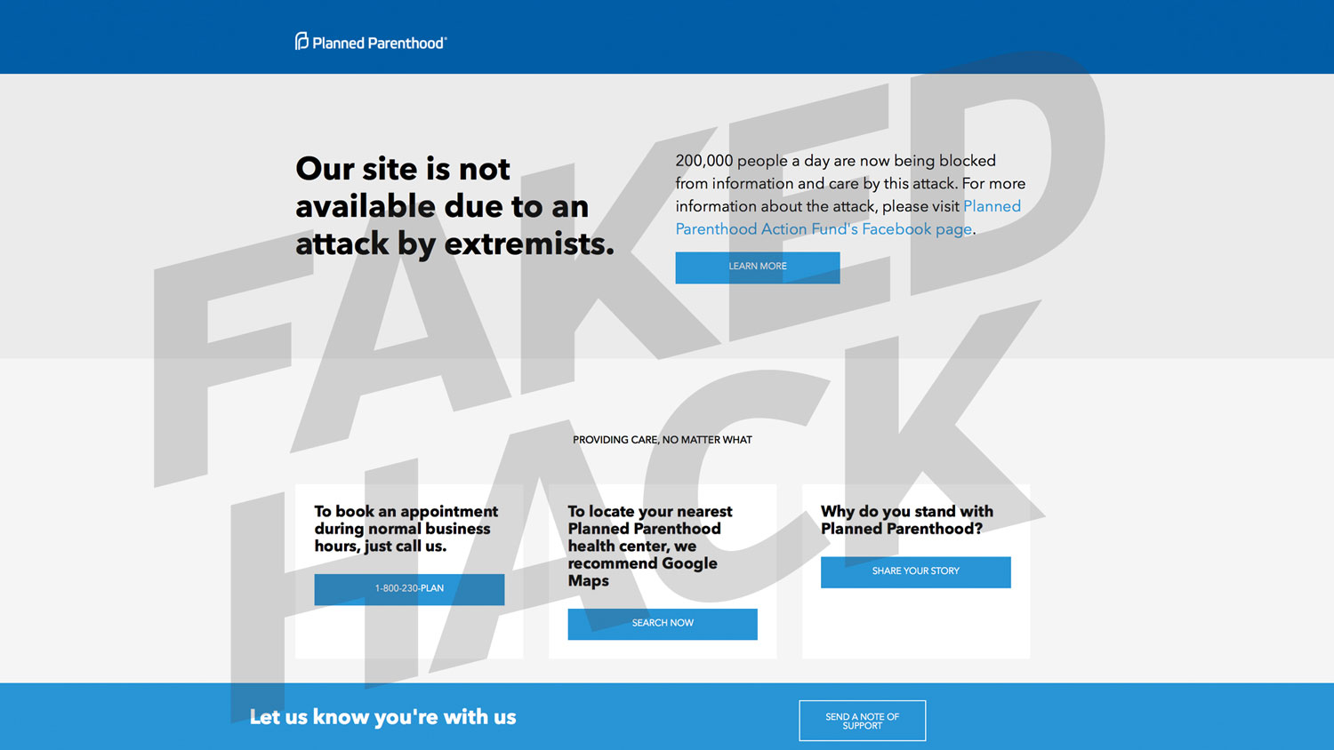 Planned Parenthood faked website hack