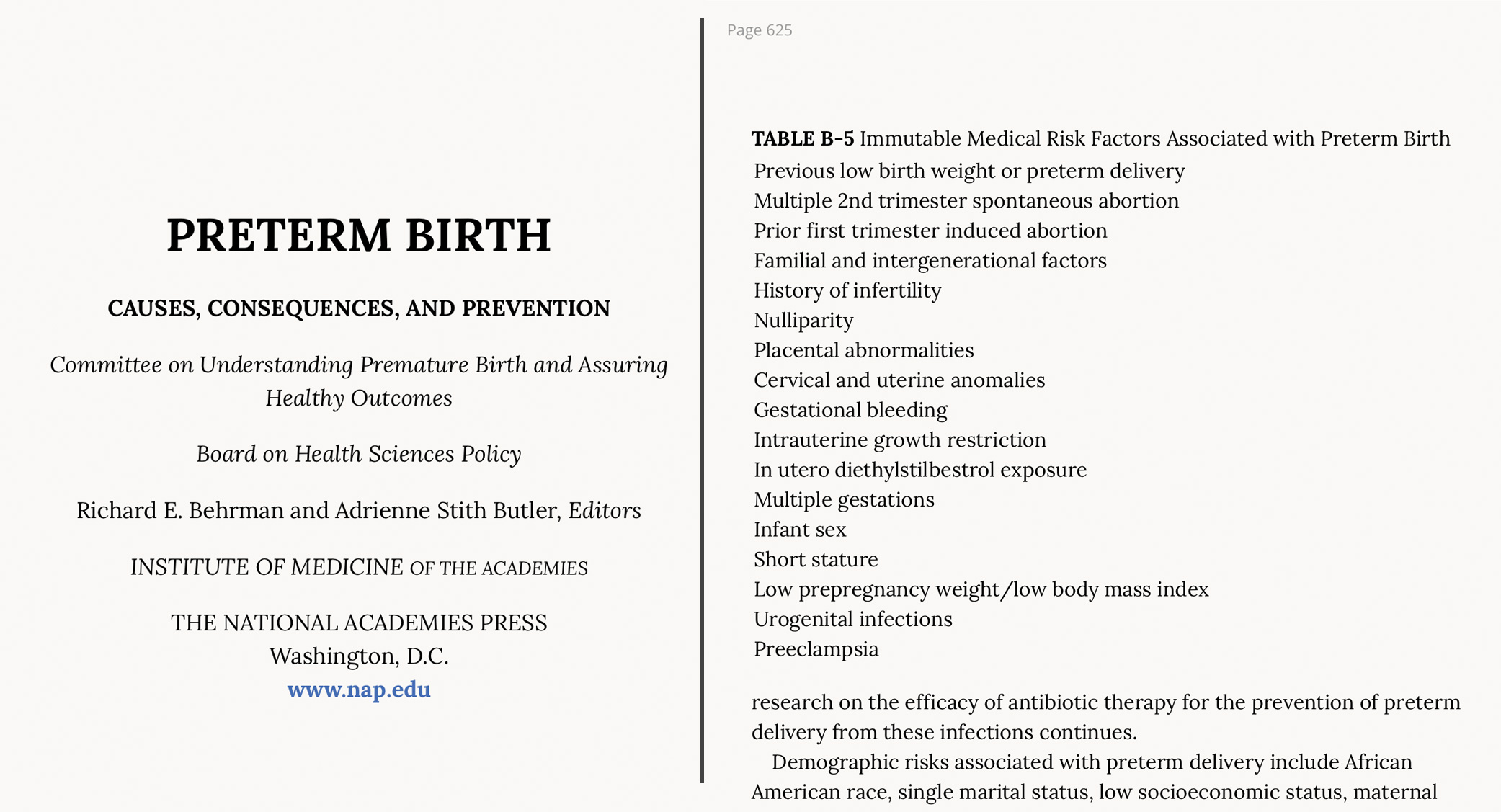 Institute of Medicine - Preterm Births and Induced Abortion