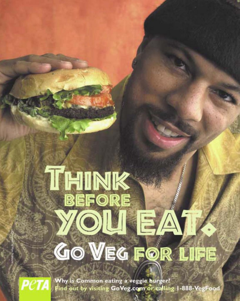 "Hip-Hop Artist Common's ""GO VEGAN"" ad for PETA"
