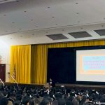 Ryan Bomberger speaks to thousands of students at Cardinal Spellman High School in the Bronx.
