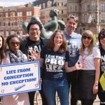 Ryan Bomberger speaks at the March for Life UK, joined by his fave Bethany Bomberger (pictured all the way right).