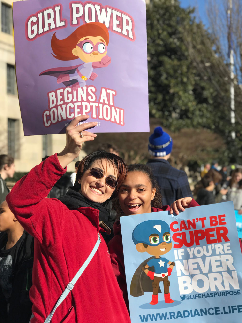 Former Marine Anita Serna and Radiance Bomberger show their prolife love!