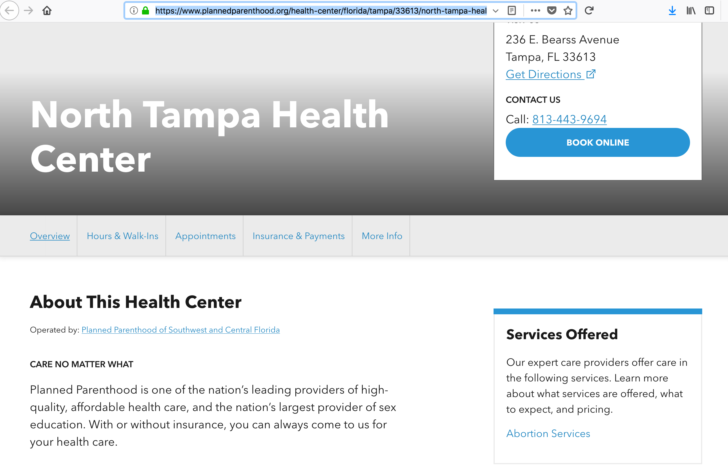 North Tampa Center - Abortion Only!